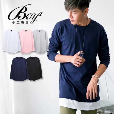 ☆BOY-2☆ 【KK6860】簡約素面下擺圓弧長袖上衣 0