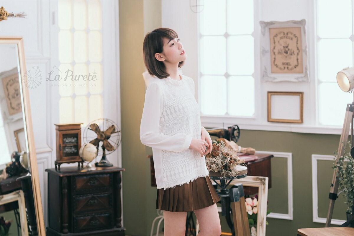 La Purete蕾菲爾【睫毛蕾絲絲質上衣】-白201601011