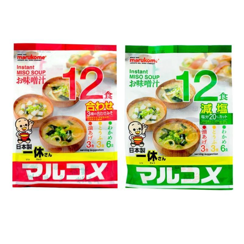 【江戶物語】MARUKOME 丸米 一休 味噌湯 綜合/減鹽-12食 3種口味 日本進口 即席 即食