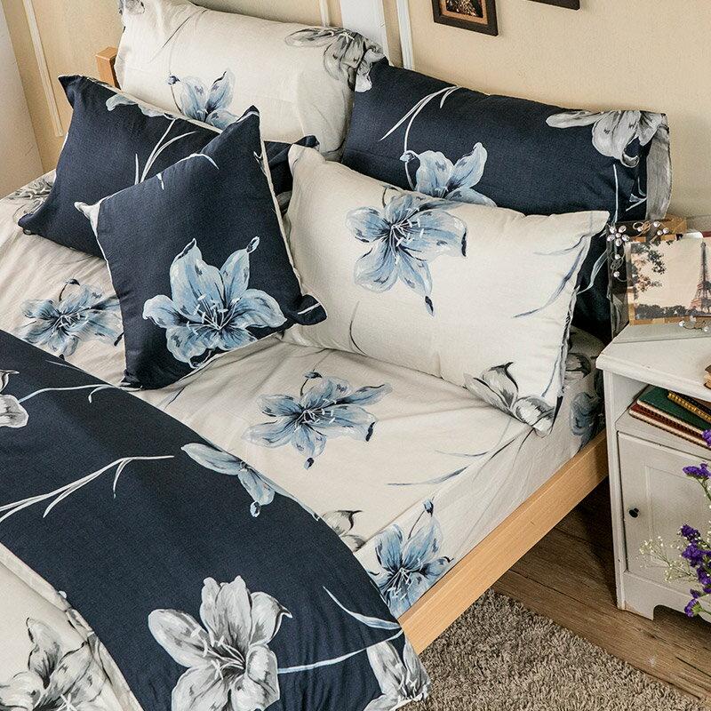 床包兩用被套組  /  雙人-100%精梳棉【漫漫花徑米】含兩件枕套,花語系列,戀家小舖,台灣製 7