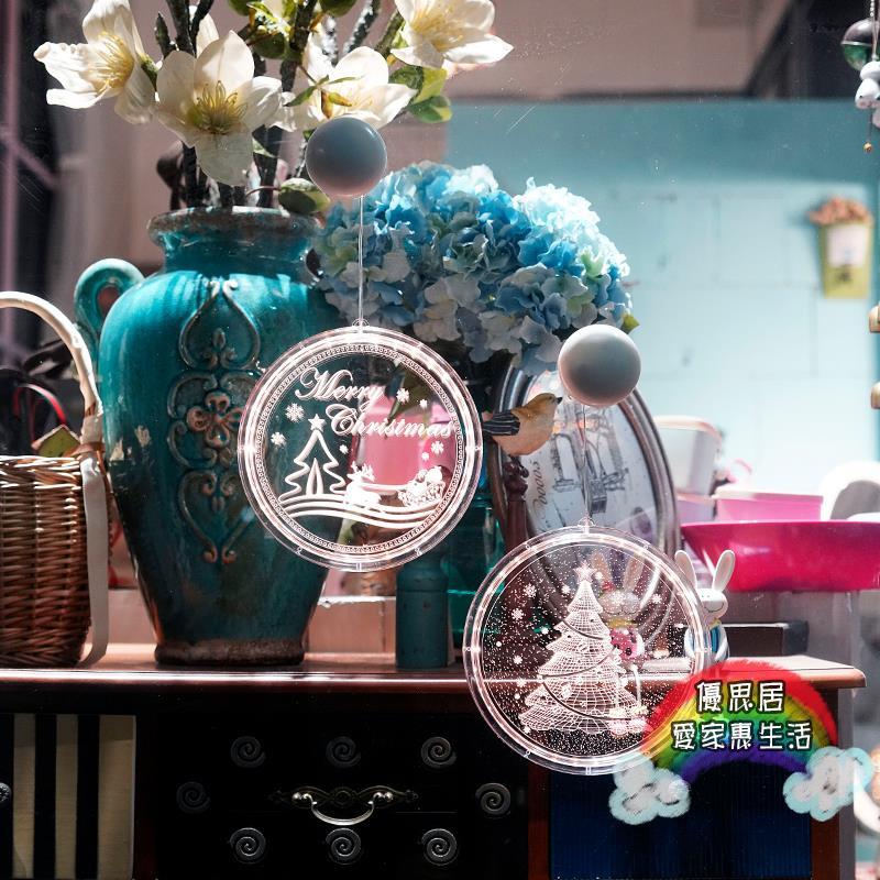 裝飾LED燈 裝飾品場景布置節日裝扮創意小掛飾雪人門店商鋪發光燈門掛 ys180