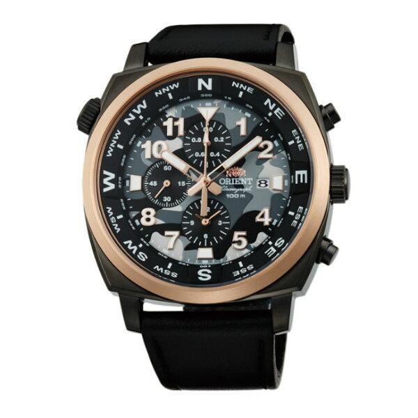 ORIENT東方錶HEAVYSPORT系列(FTT17003B)東方霸王專業方位判定石英錶迷彩色皮帶款45.5mm