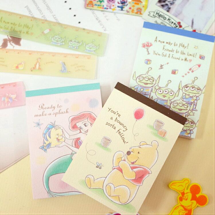 PGS7 日本迪士尼系列商品 - 迪士尼 粉嫩 手繪 系列 便條本 便條紙 維尼 愛麗兒 三眼怪【SHJ7325】