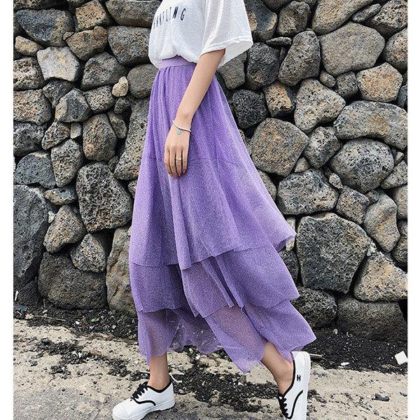 長裙素色鬆緊腰網紗層層拼接簡約險瘦長裙【NDF5055】BOBI0628