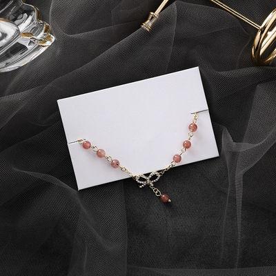 PS Mall 少女心蝴蝶結手鏈韓國甜美簡約百搭森林系水晶珠子手飾 【G2524】 0