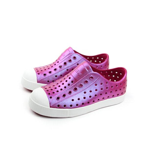 native JEFFERSON 珠光 懶人鞋 洞洞鞋 防水 雨天 童鞋 桃紅色 小童 1