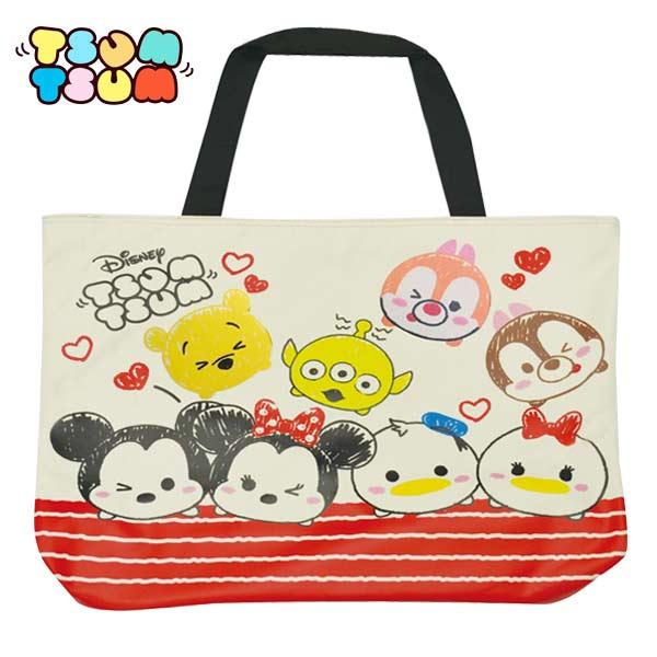 A款【日本正版】TSUM TSUM 帆布 托特包 肩揹提袋 肩背包 手提袋 迪士尼 Disney - 065772