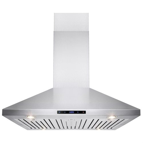 "AKDY 36"" Stainless Steel Island Mount Range Hood Touch Screen Display Light Lamp Baffle Filter 0"