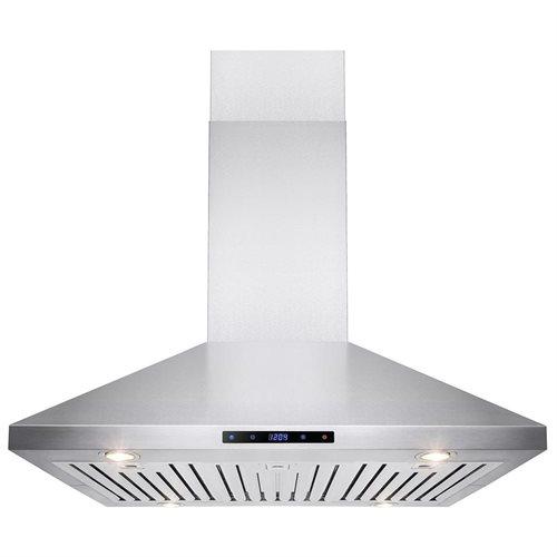 "36"" Stainless Steel Island Mount Range Hood Touch Screen Display Light Lamp Baffle Filter 0"