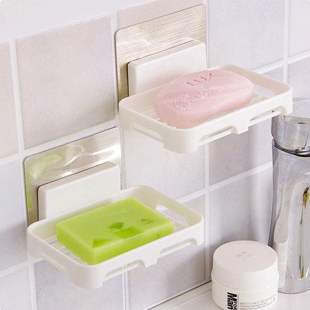 無痕貼系列香皂架(塑料盤)肥皂架香皂盤肥皂盤置物盒瀝水浴室壁掛式無痕收納架【N202759】