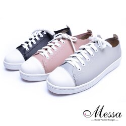 【Messa米莎專櫃女鞋】MIT自然系素色個性百搭內真皮綁帶休閒鞋-三色