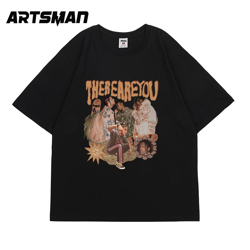 印花短袖T恤夏季潮牌嘻哈美式hiphop寬松復古休閑tee