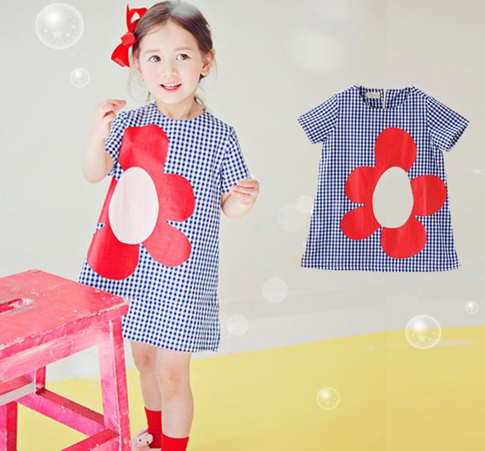 ~貝貝樂SHOW~ 甜美淑女氣質 格子太陽花圖案^~寬松、休閒.簡約洋裝^~韓單品牌^~