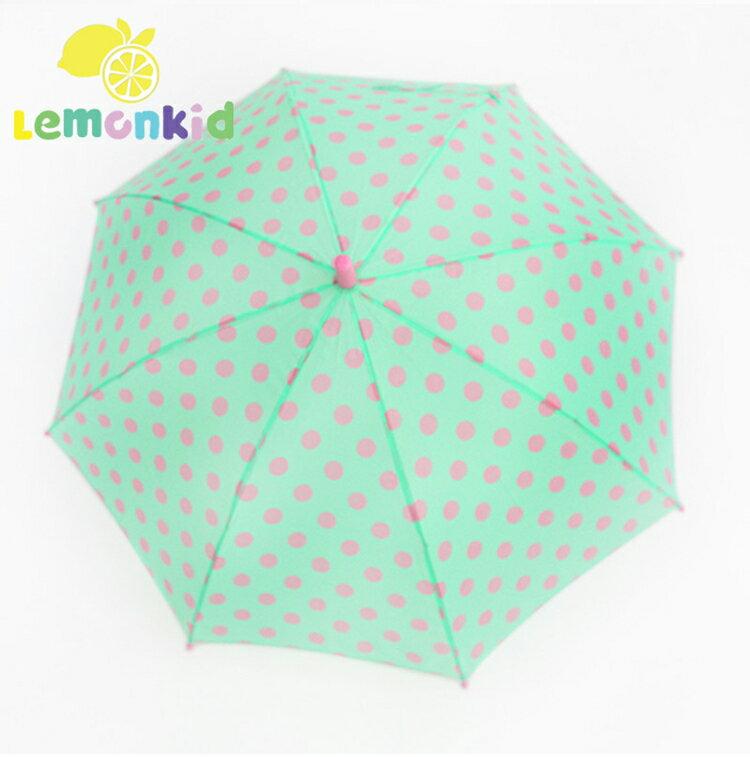 Lemonkid◆可愛波點公主款圓點直桿型雨傘-綠粉圓點