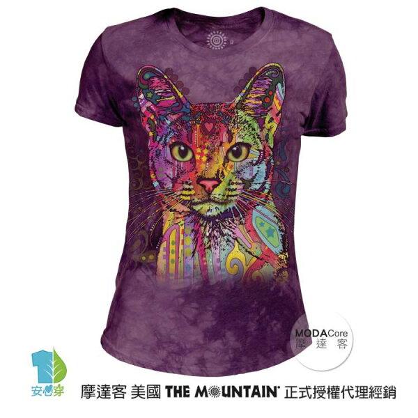 【摩達客】(預購)美國TheMountain都會系列彩繪貓圓領修身女版短T