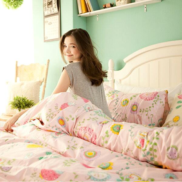 床包兩用被套組雙人-100%精梳棉【法式歐蕾粉】含兩件枕套四件式,質感舒適,戀家小舖台灣製