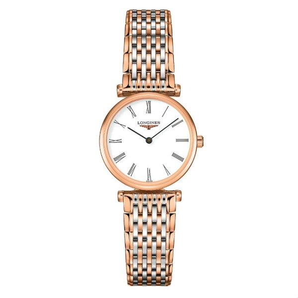 LONGINESL42091917玫瑰金嘉嵐石英超薄腕錶白面24mm
