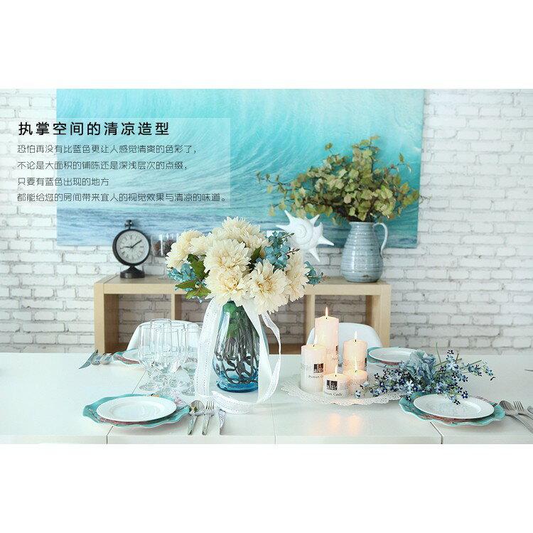 歐式波浪口創意玻璃花瓶透明彩色客廳百合插花瓶裝飾工藝品擺件
