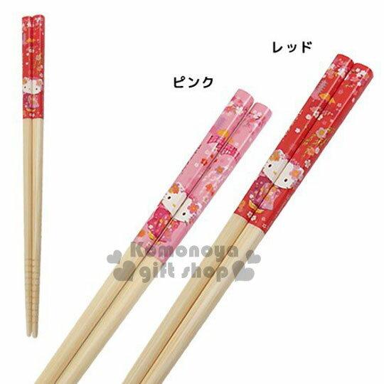 〔小禮堂〕Hello Kitty 日製天然竹筷~2款.紅粉.舞姬.櫻花.拿球.21cm~前