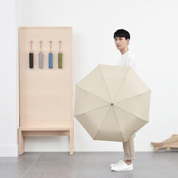 挺趣生活精品館:tiohoh庶民系列三折自開收晴雨傘(淺棕茶)-8418