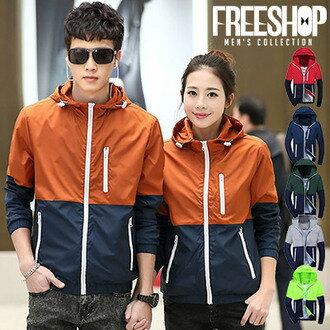 《FreeShop》FreeShop【QTJ911B】情侶款雙色拼接內耳機孔造型連帽運動風衣外套六色防曬薄外套夾克