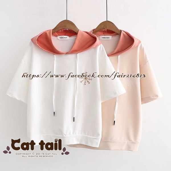 《貓尾巴》TS-0903雪花刺繡拼色連帽短袖T恤(森林系日系棉麻文青清新)