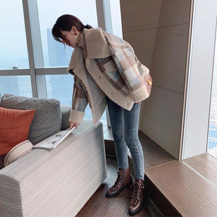毛外套棉質外套羊羔毛外套女2020秋冬裝新款韓版百搭小香風流行格子毛呢大衣