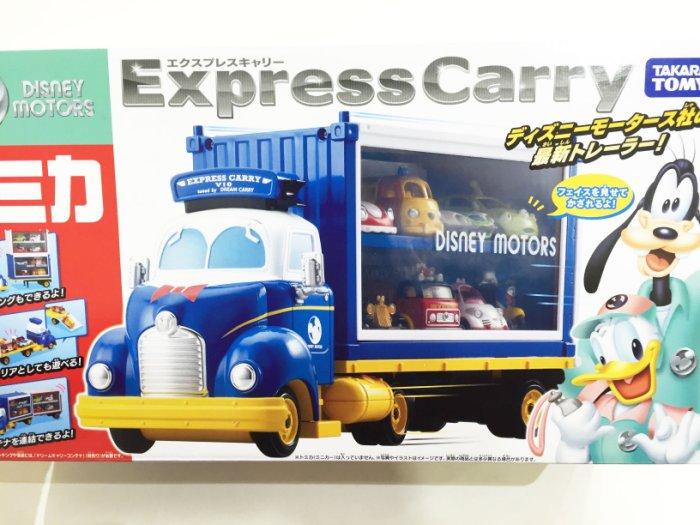 迪士尼 TOMY 玩具車 小汽車 唐老鴨 展示 貨櫃 聯結車 玩具車 金屬模型車 玩具 正版日本進口 * JustGirl *
