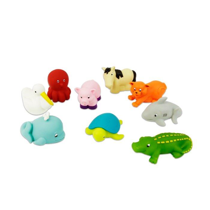 【淘氣寶寶】 美國 B.Toys 感統玩具 《 BATTAT 》洗澡玩具 烏龜與朋友們 (9pcs)
