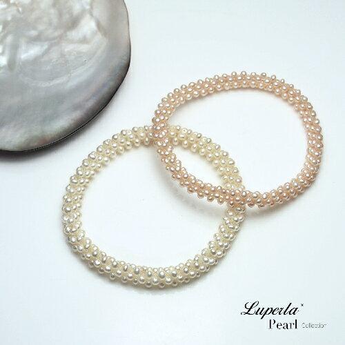 大東山珠寶 浪漫純白 天然珍珠手環 歐美古典編織珠寶 3