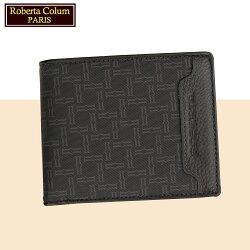 【Roberta Colum】諾貝達 男用皮夾 短夾 專櫃皮夾 進口牛皮配乳膠短夾 (28903-黑色)【威奇包仔通】