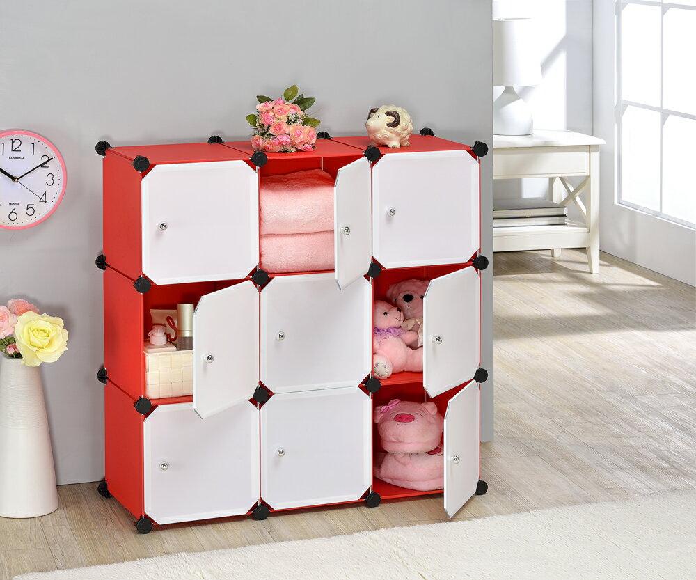 10 9格魔術方塊置物架+9門板 / 置物架 / 收納櫃 / 收納架 / KD家具【蕎商-生活智庫】