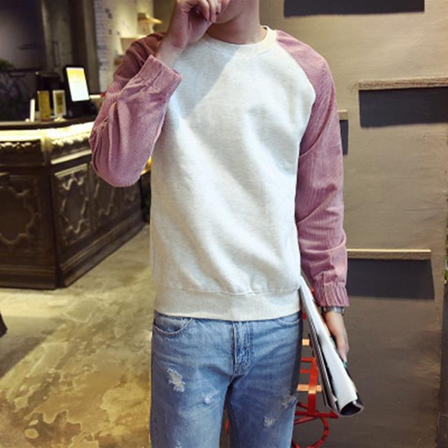 50^%OFF~AH020704C~新青年秋裝圓領男士套頭衛衣青少年 撞色寬鬆外套潮上衣外