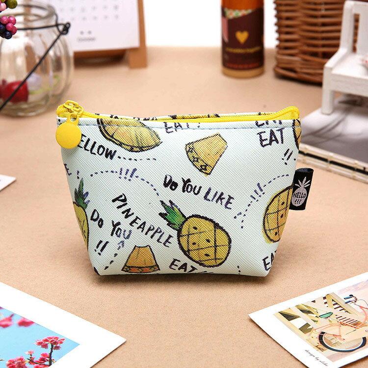 新款可愛水果布丁零錢包PU手拿包-波蘿