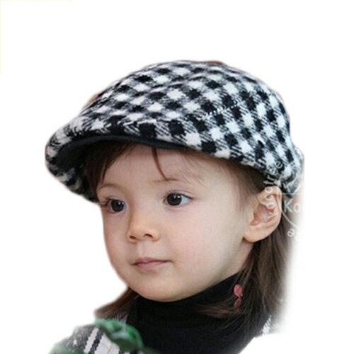 kocotree◆韓系蘇格蘭格紋經典百搭格子氣質兒童貝雷帽-黑白格