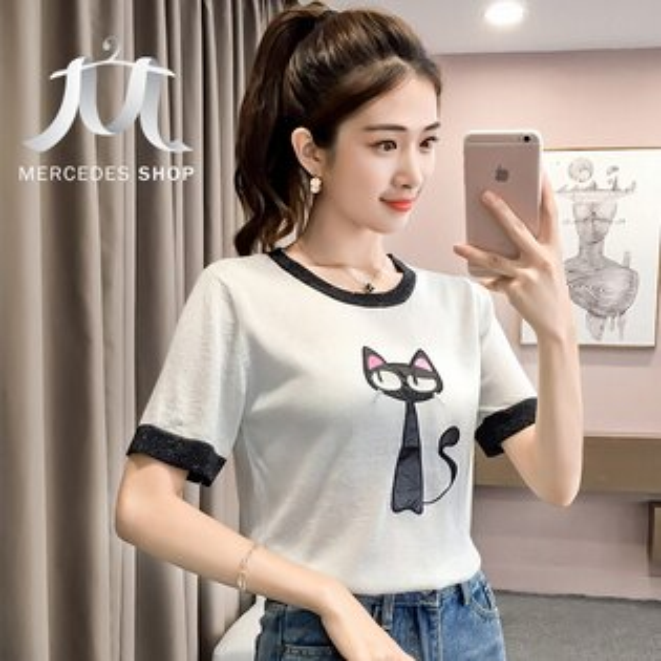《全店75折》貓咪圖案金銀線印花繡花針織短袖T恤上衣(3色)-梅西蒂絲(現貨+預購)