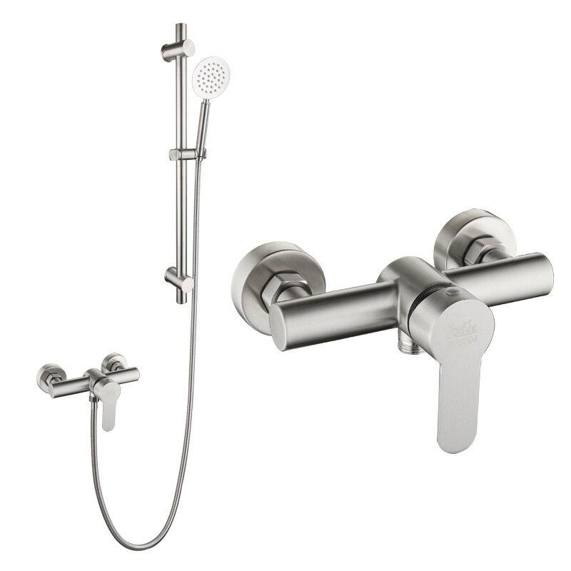【新品爆款】 304不銹鋼簡易淋浴花灑套裝手提式冷熱混水閥 淋浴龍頭