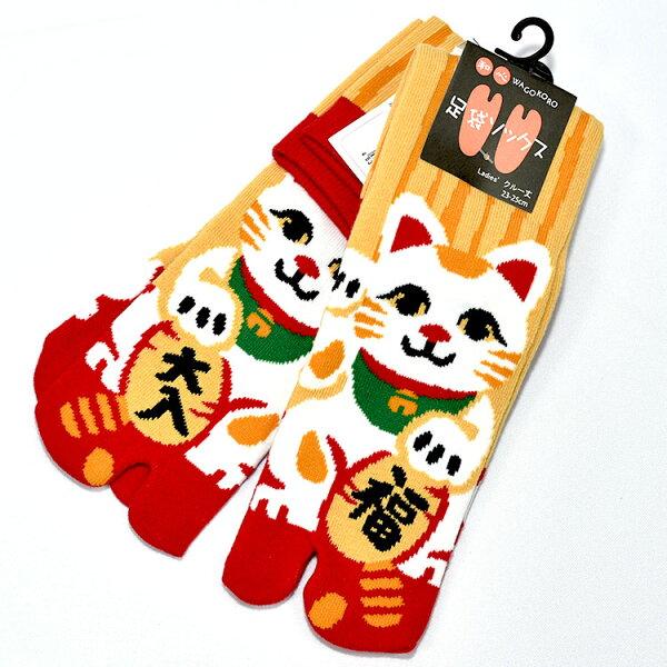 招福招財貓日本足袋襪子23-25cm女生中筒日本帶回