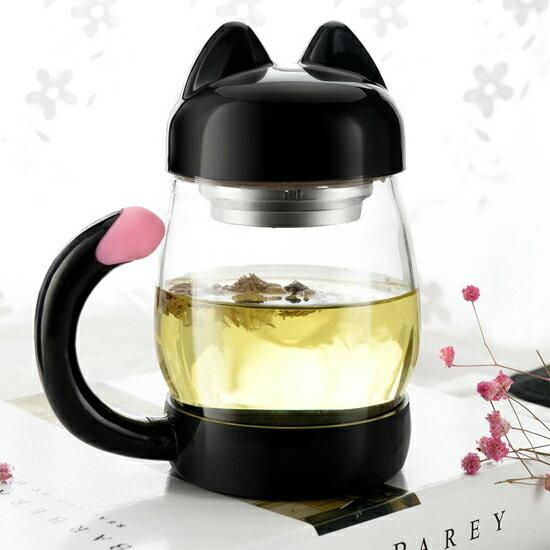 ♚MY COLOR♚貓咪造型玻璃茶杯 茶壺 居家 下午茶 蛋糕 花茶 茶包 卡通 廚房 姊妹 【Z94】
