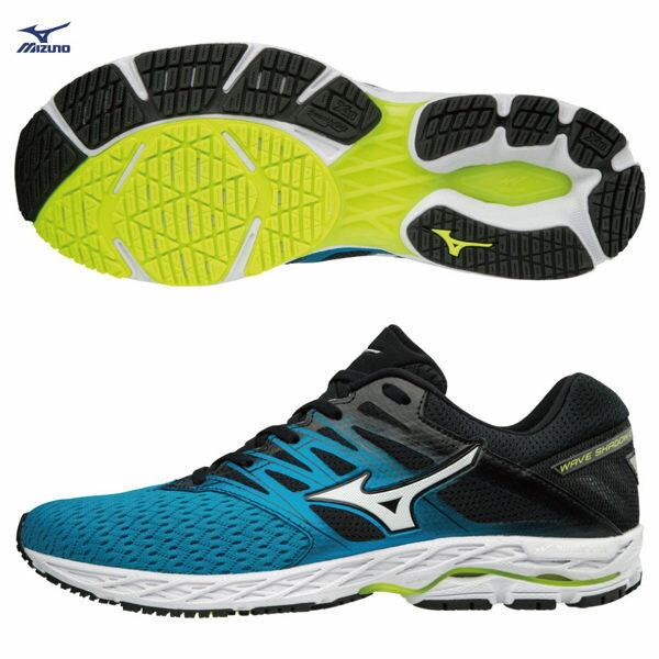 MIZUNOWAVESHADOW2男鞋慢跑網布透氣耐磨藍黑【運動世界】J1GC183001