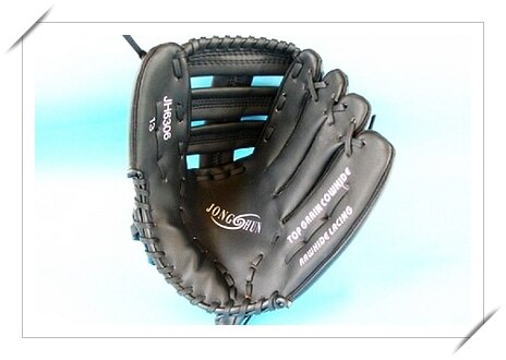 13吋棒球手套 壘球手套 全黑正皮(棒球.壘球外野用)/一個入{定1700}