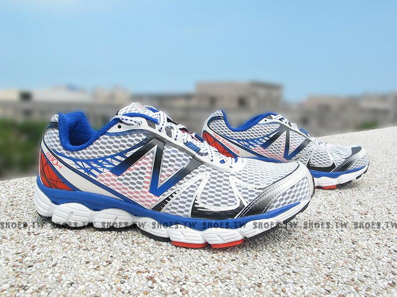 《超值4.9折》Shoestw【M880WB4】NEW BALANCE 慢跑鞋 白藍黑 2E楦頭 男生