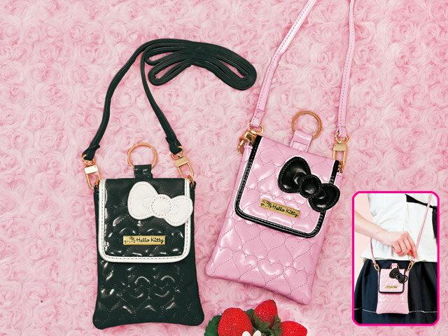 X射線【C010008】Hello Kitty 黑粉愛心壓紋小物斜背袋景品-粉,美妝小物包/媽媽包/面紙包/化妝包/零錢包/收納包/皮夾/手機袋/鑰匙包