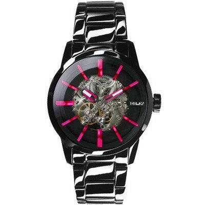 RELAXTIME鏤空機械腕錶-黑X桃(RT-38-5)43mm