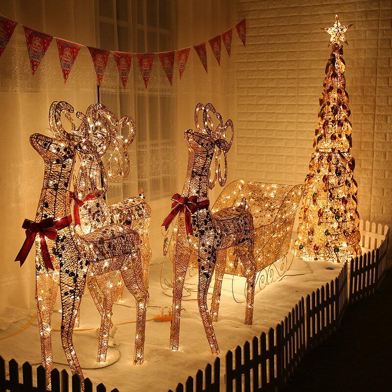 圣誕節鹿拉車發光鹿拉車鐵藝鹿圣誕麋鹿擺件酒店大廳櫥窗裝飾用品