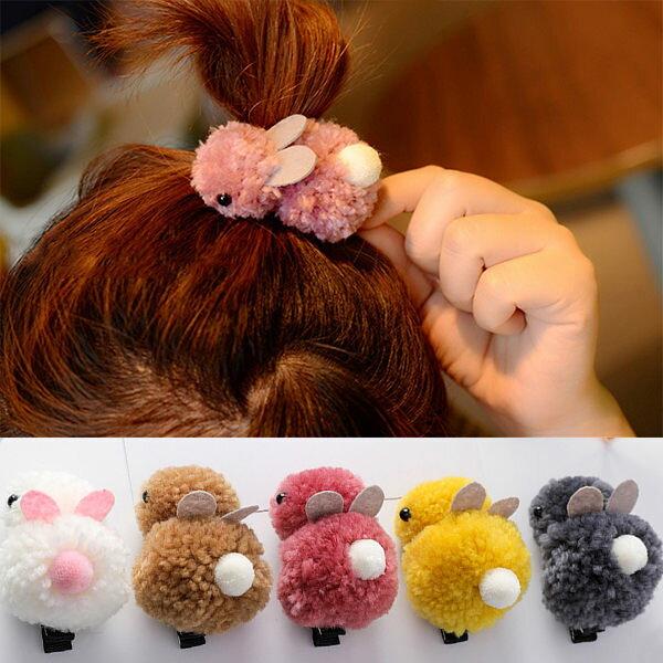 PS Mall 萌系可愛羊羔毛立體兔子髮夾髮飾 【G2034】 0