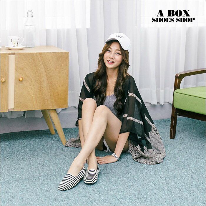【AWA516】*限時免運* MIT台灣製 海軍風簡單帆布條紋設計 豆豆鞋 圓頭包鞋 娃娃鞋 2色 2