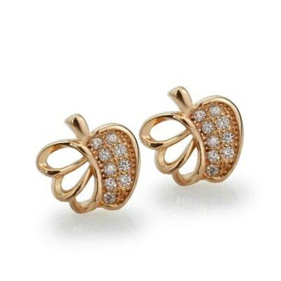 玫瑰金純銀耳環鑲鑽耳飾~可愛典雅蘋果 母親節生日情人節 女飾品73dm138~ ~~米蘭
