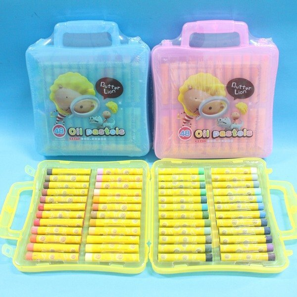 奶油獅 BLOP-48 48色粉蠟筆 奶油獅大支粉蠟筆(塑盒)/一盒入{定230}