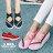 格子舖*【KFH624】時尚交叉帶撞色編織布面 5CM厚底包鞋懶人鞋 遙遙健走鞋 3色 0